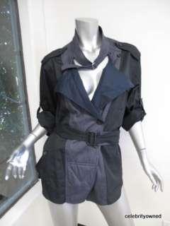 Isabel Marant Black/Navy Double Breatsed Thin Jacket W/ Belt 2