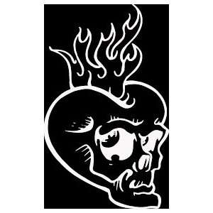 HRT (259) 6 white vinyl decal skull face flaming heart die cut decal