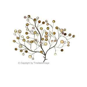 Large Wrought Iron Mother Pearl Tree of Life Wall Art: