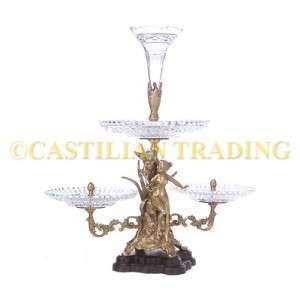 NEW CRYSTAL GLASS & BRASS ANGEL EPERGNE ART NOUVEAU