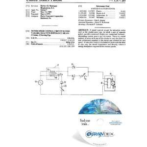 NEW Patent CD for MOTOR SPEED CONTROL CIRCUIT HAVING VARIABLE REACTIVE