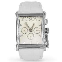 Bosovi Mens Stainless Steel White Dial Diamond Watch