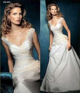 Sleeve Champagne A Line Court Train Bridal Gown Wedding Dress Custom
