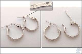 o1643   BRAND NEW 18K SOLID WHITE GOLD HOOP EARRINGS