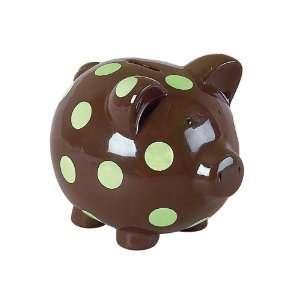 Elegant Baby Chocolate w/ green polka dots pig bank Baby