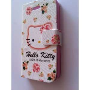 Pink Hello Kitty Flip Leather Case Cover for Apple Iphone4