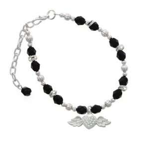 Clear Swarovski Crystal Heart with Silver Textured Wings Black Czech