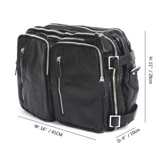 Genuine Cowhide Leather Messenger Backpack Bag Black (MCAB10490B