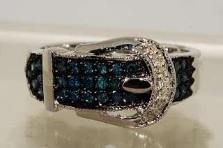30CT BELT DESIGN ROUND CUT BLUE & WHITE DIAMOND RING SIZE 6.25
