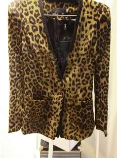 New Korean Women V neckl Long Sleeve Leopard Suede Slim Suits Blazer