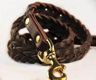 High Quality Leather Braided Dog Leash Brown or Black