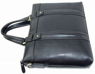 Cowhide Leather Case Briefcase Messenger Laptop Bag Black 14