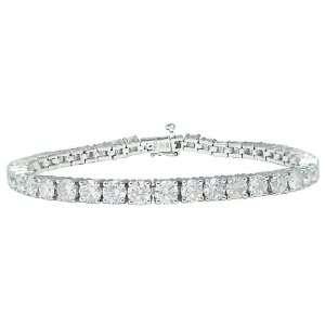 10k White Gold Diamond 4 Prong Tennis Bracelet (10 cttw, I J Color, I1