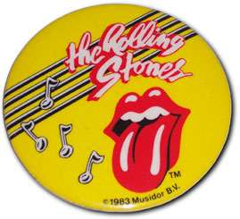 ROLLING STONES ROCK & ROLL TONGUE PINBACK BUTTON 1983