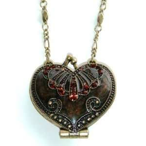 Vintage Heart Locket Necklace   Smokey Topaz Womens