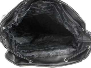 Black Lambskin Leather Drawstring Backpack Purse