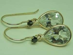 5ctw WHITE Topaz black diamond 14k gold dangle earrings French wire