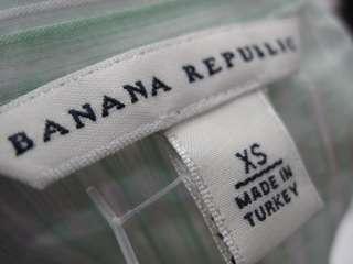 BANANA REPUBLIC Green White Striped Blouse Shirt Sz XS