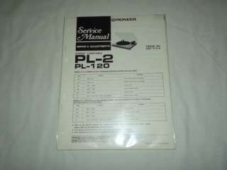 Pioneer PL 2 PL 120 Turntable Original Service Manual