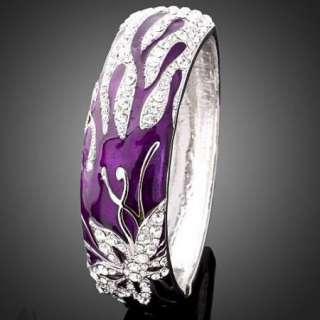 ARINNA Purple Enamel Swarovski Crystal WGP Bangle Cuff