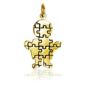 Large Size Autism Awareness Puzzle Boy Jewelry Charm in