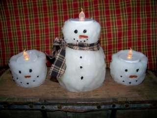 Prim Snowmen Candle Flameless Battery Set Lot Decor Primitive Tea
