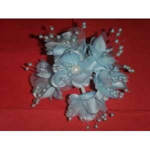 Light Blue Wedding Bridal Pearl Satin Organza Flower