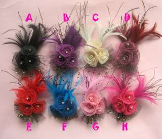 Girls baby flower hair bow clips brooch handmand 8colors you pick 1pcs