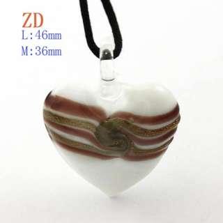 Lampwork Glass Heart Necklace Pendant earrings set Jewelry