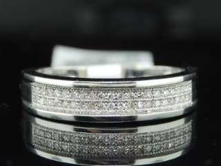 MENS .20C WHITE GOLD ENGAGEMENT DIAMOND BAND PAVE RING
