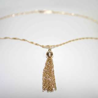 14K gold DIAMOND CUTTED SPARKLY CHAIN necklace TASSLE