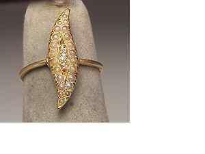 Antique Rose Gold 14K Seed Petal Diamond Ring