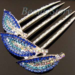 Item  1pc rhinestone crystal leave French twist hair comb