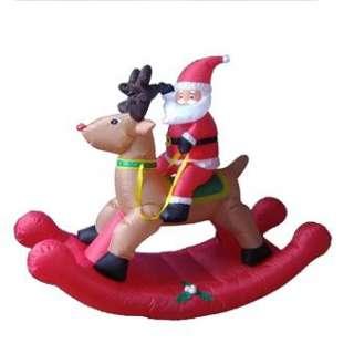 AIRBLOWN INFLATABLE LIGHTED SANTA ROCKING HORSE REINDEER CHRISTMAS