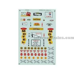 HO Scale City Building Signs Decal Set   Street & Buildings Toys