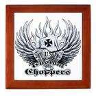 Artsmith Inc Keepsake Box Mahogany US Custom Choppers Iron Cross Hat