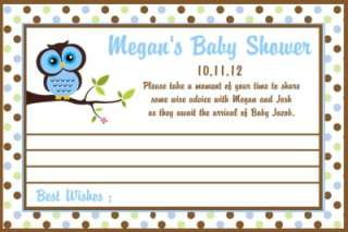 40 Personalized Baby Shower Owl Advice Cards