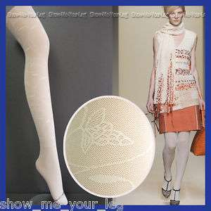 Ivory Flower Patterned TIGHTS / PANTYHOSE / HOSIERY