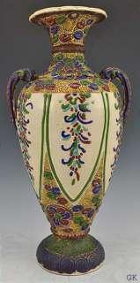 Large Antique Japanese Moriage Vase c. 1900 Enameled