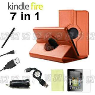 For Kindle Fire Rotati​ng Case Cover/Car Charger/Protector/USB Cable