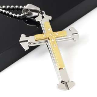 Large Mens Stainless Steel Cross Pendant Necklace Chain
