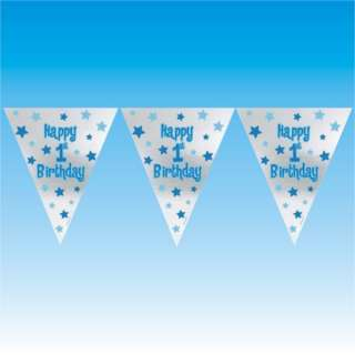 and silver star design with the message happy 1st birthday on a