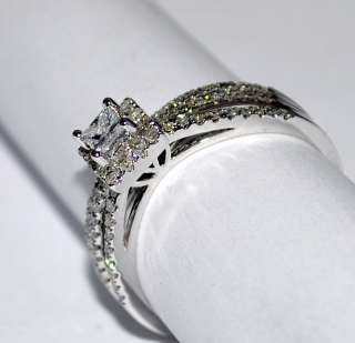 6CT DIAMOND WEDDING SET 14K WHITE GOLD ENGAGEMENT RING + BAND