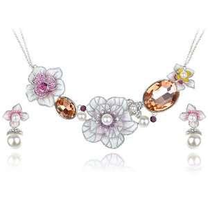 Faux Pearl Topaz Swarovski Crystal Element Enamel Hibiscus Earring
