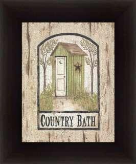 Barn Star Outhouse Country Sign Bathroom Print Framed