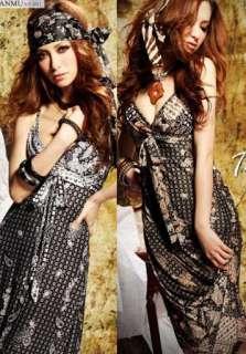 Low Cut Paisley Pleated Full Length Sun Dress XS M 1383