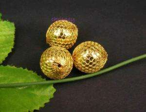 14pcs Copper MESH Ball Round Bead Wire Gold Plated 25mm