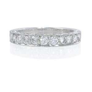 Diamond Antique Style 18k White Gold Wedding Band Ring Jewelry