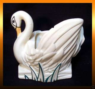 Vintage McCoy Pottery White SWAN PLANTER Vase Signed