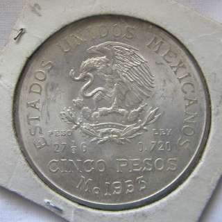 1953 MEXICO 5 Cinco Pesos HIDALGO WREATH Silver Coin UNCIRCULATED Mo